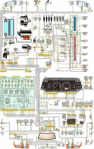 Электросхема ВАЗ 2110 Схема электропроводки Системы управления...